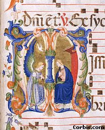 Ornamental letter of the Annunciation, from an old manuscript