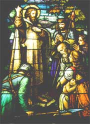 Stained glass window of St. Boniface