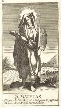 St. Matthias, from a 1708 Book of Common Prayer