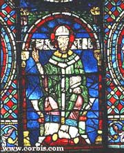 13th c. stained glass window of Thomas a Becket