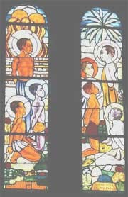 Stained glass window of the Martyrs of Uganda