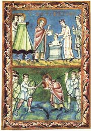 Manuscript illumination showing Bonface baptizing, and his martyrdom